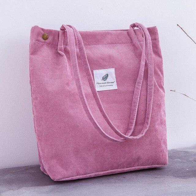 Women Corduroy Shopping Bag Female Canvas   4