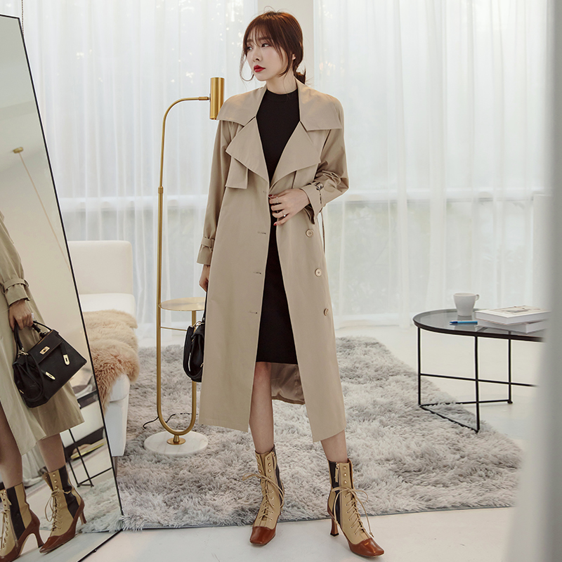 YIGELILA 2019 High Quality Khaki Long Coats Classic Double-breasted Coats Long Sleeves Office Lady With Belt Oversize Coats 9988