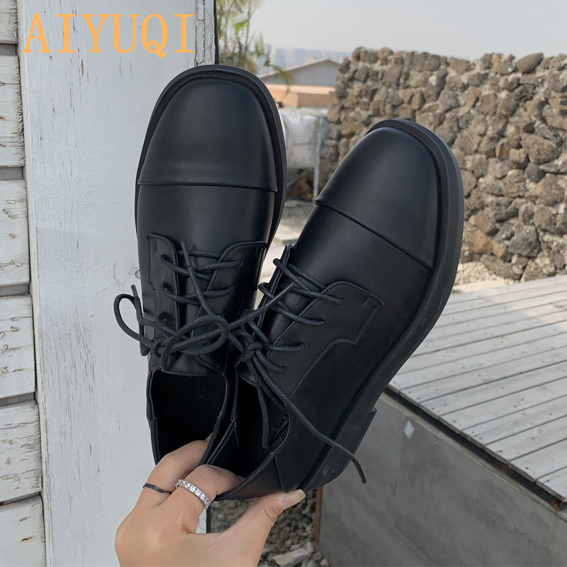 Women's Shoes 2020 New Spring Wild Round Head Lace-up Single Shoes Women Retro Flat Thick Heel British Shoes Women