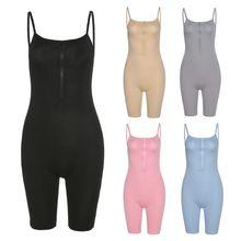 Sport Playsuit Rompers Clubwear Biker-Shorts Ribbed Women Spaghetti-Strap Fitness Bodycon