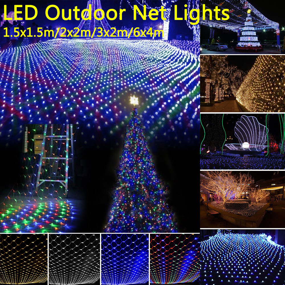 220V Led Net String Lights Outdoor Waterproof Party Wedding Christmas Decor Mesh Lights Fairy String Light With Tail Plug D30