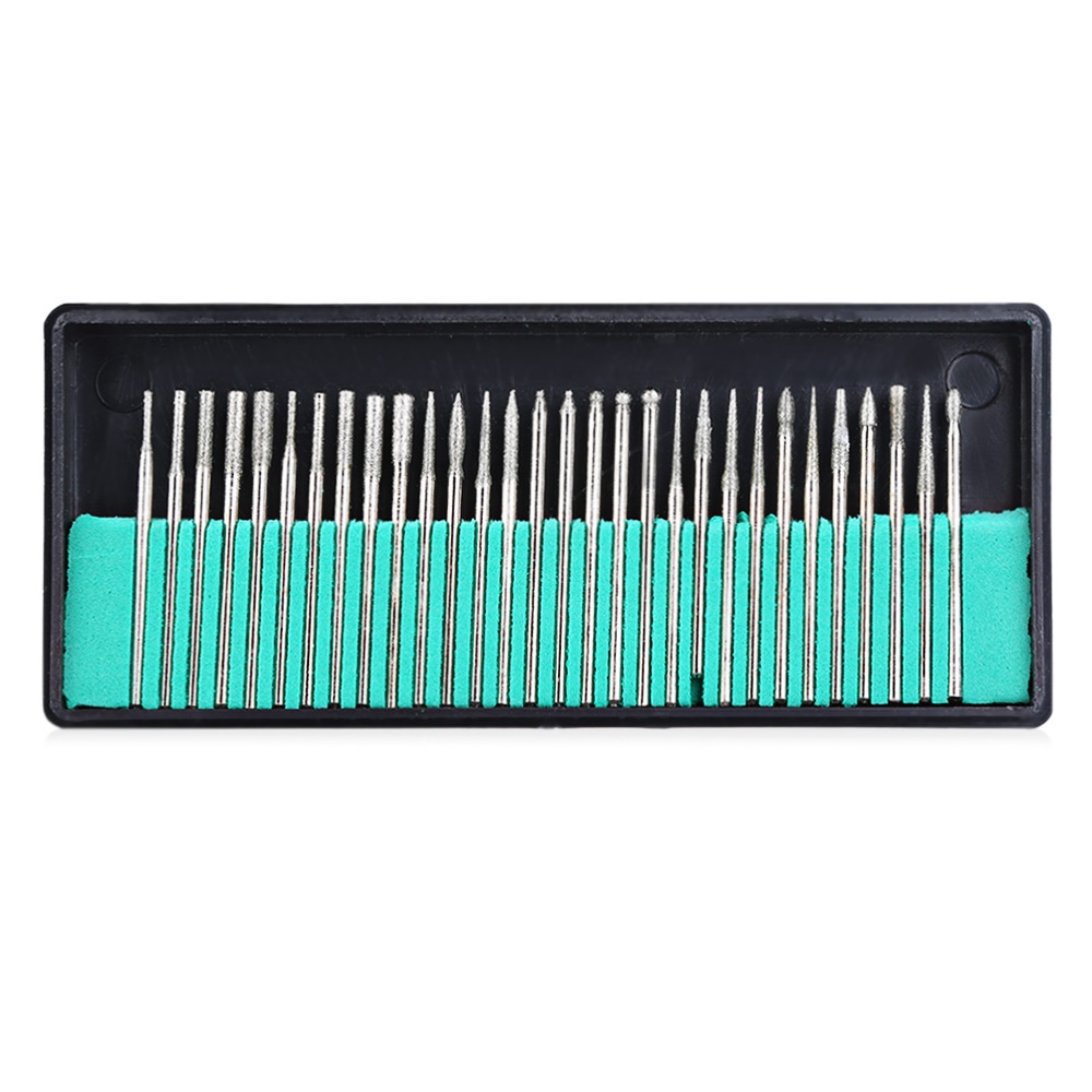 30Pcs Diamond Nail Drill Bit Rotery Electric Milling Cutters For Pedicure Manicure Files Cuticle Burr Nail Tools Accessories