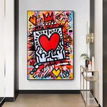 Pop Graffiti Art Heart Canvas Painting Abstract Street Art Posters and Prints Wall Art Picture for LivingRoom Home Decor Cuadros