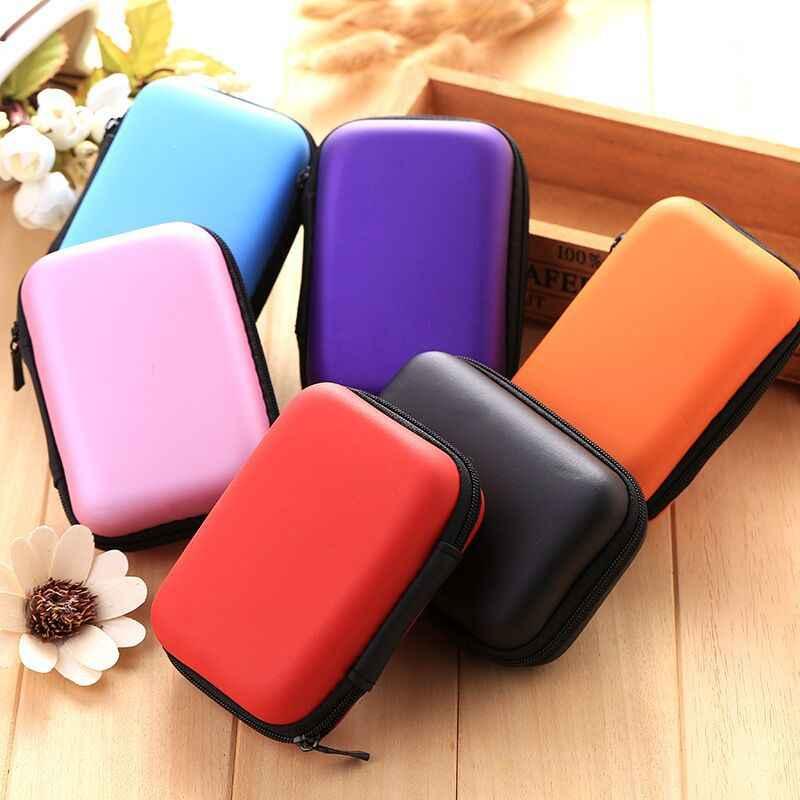 1 pc mini bolsa de fone de ouvido portátil bolsa de moeda fone de ouvido cabo usb caixa de armazenamento 12x8x4cm saco quadrado eva com zíper