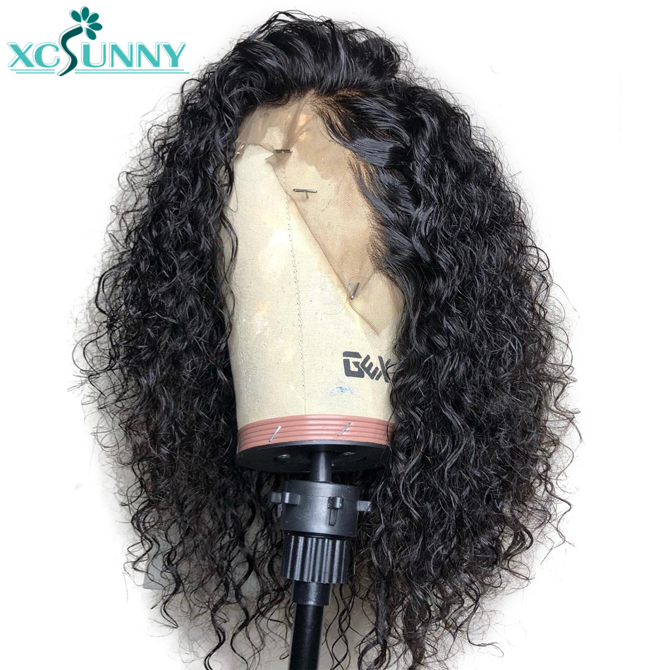 180 Density 13x6 Lace Front Curly Human Hair Wig Deep Part Remy Brazilian Frontal Wigs Pre Plucked Glueless For Women Xcsunny
