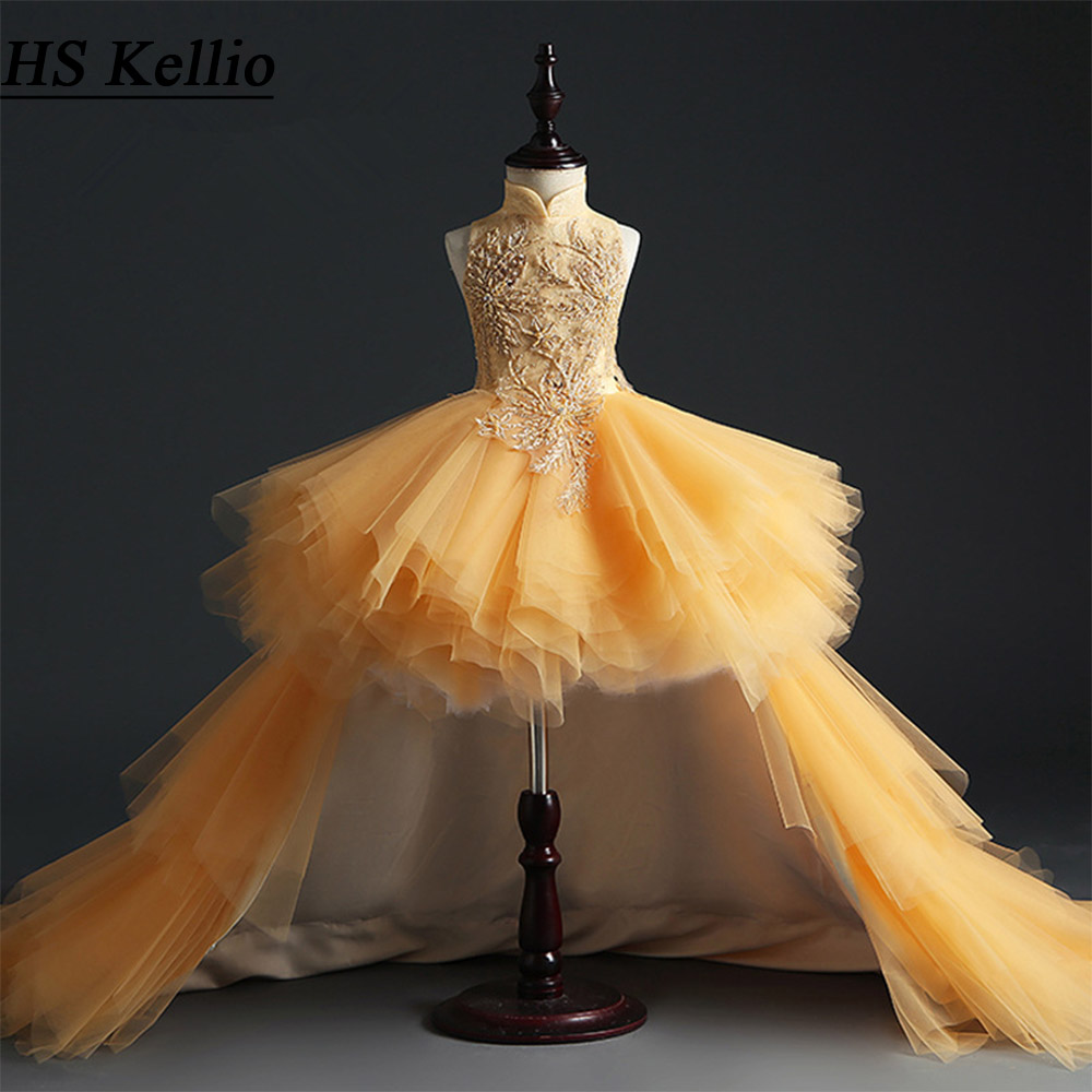 HS Kellio Flower Girl Dress Orange Ball Gown Tulle High Low Pageant Dresses Fashion Floor Length