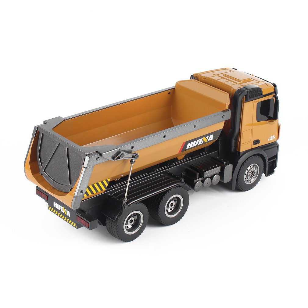 HUINA TOYS 1573 1 14 10CH Alloy RC Dump Trucks Engineering Construction Car Remote Control Vehicle Toy RTR RC Truck Gift for Boy in RC Trucks from Toys Hobbies