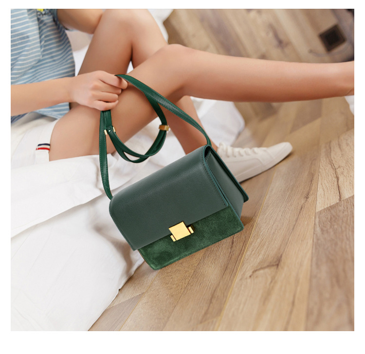 Leather Square Sling Bag 2020 New Style Single-shoulder Crossbody Bag Green Women's Bag Cowhide