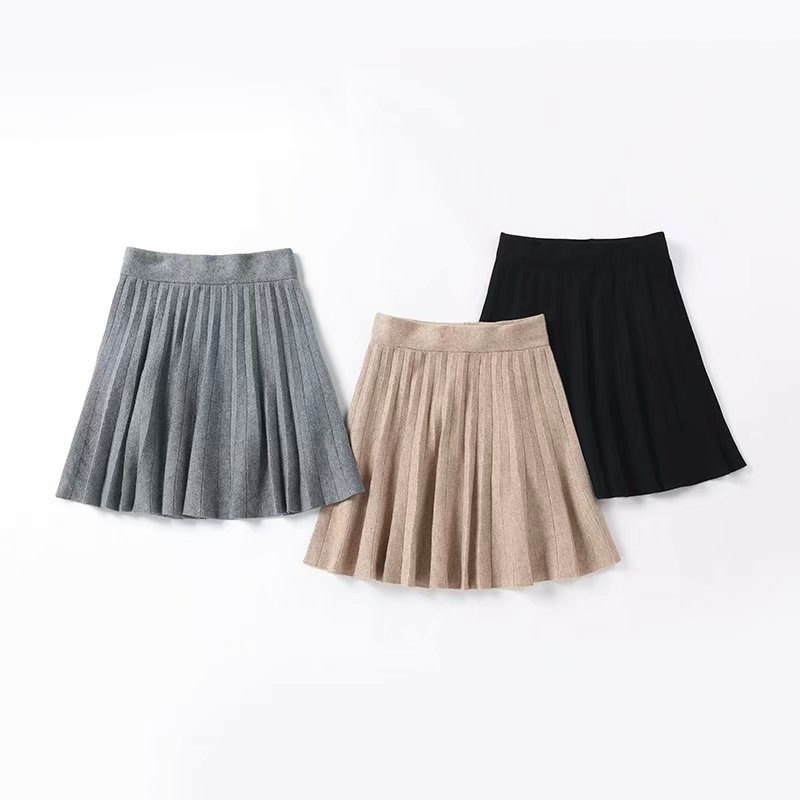 Skirt 2020 Spring And Autumn New Style Korean-style Knitted Bao Xin Sha Elastic Pleated Skirt High-waisted Versatile Slimming Sh