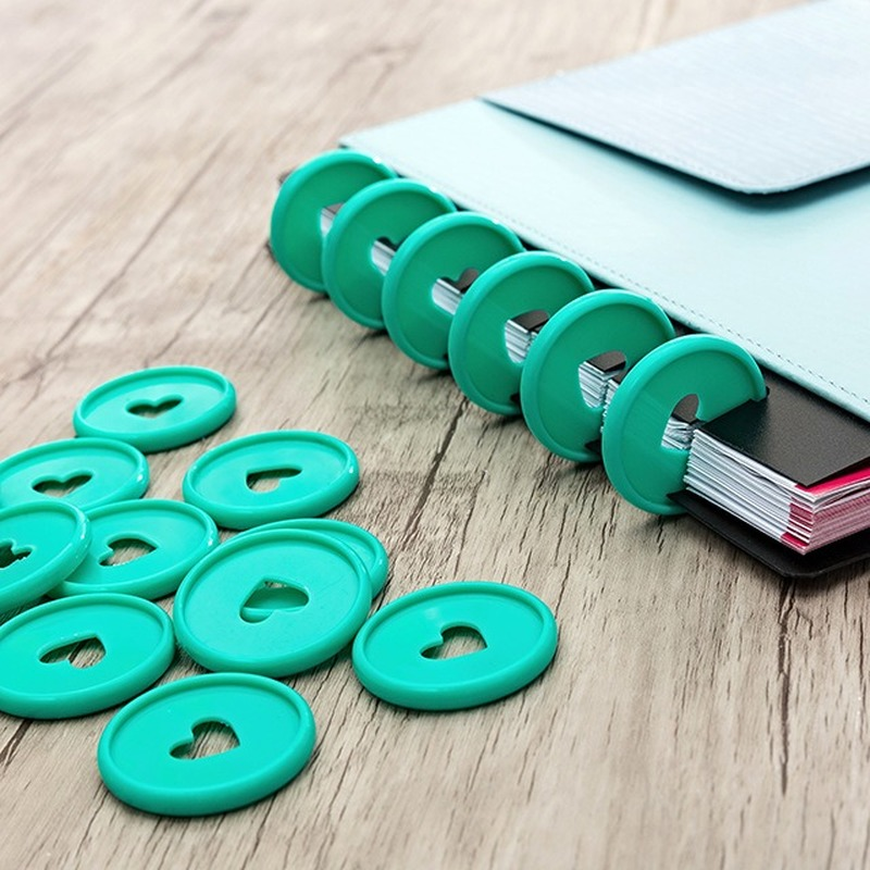 12PCS Notebook Binding Discs Mushroom Hole Disc Binder Notepad Ring Buckle Plastic Loose-leaf Disc Bound Coil Button Binders