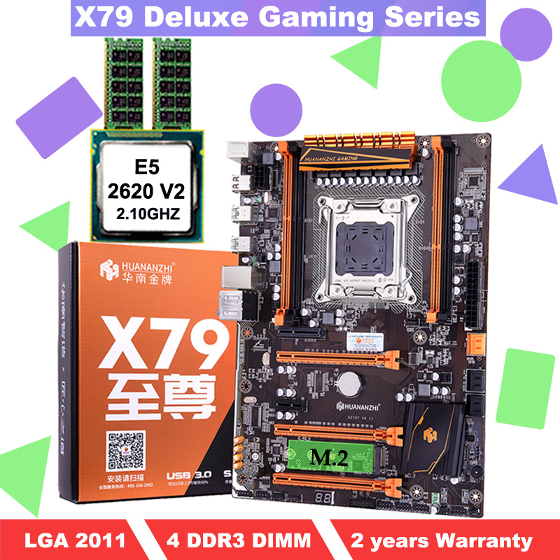 Motherboard with M.2 slot HUANANZHI deluxe X79 gaming PC motherboard with CPU Intel <font><b>Xeon</b></font> <font><b>E5</b></font> <font><b>2620</b></font> <font><b>V2</b></font> 2.1GHz RAM 2*4G DDR3 RECC image