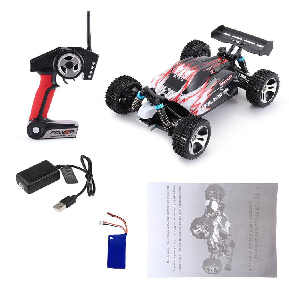 WLtoys A959 2.4GHz 1:18 Full Proportional Remote Control 4WD Vehicle 45KM/h High Speed Electric RTR Off-road Buggy RC Car