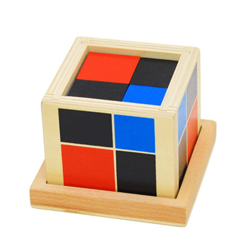 New Wooden Binomial Cube Montessori Math Toys For Children Educational Preschool Early Learning Wood Toy Math Blocks