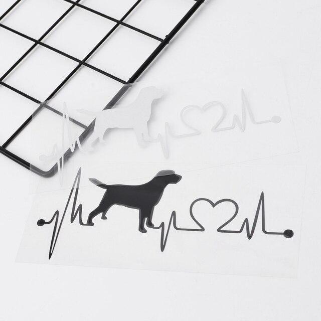 Labrador Retriever Heartbeat Love Decal Car Sticker Creative Auto Accessories
