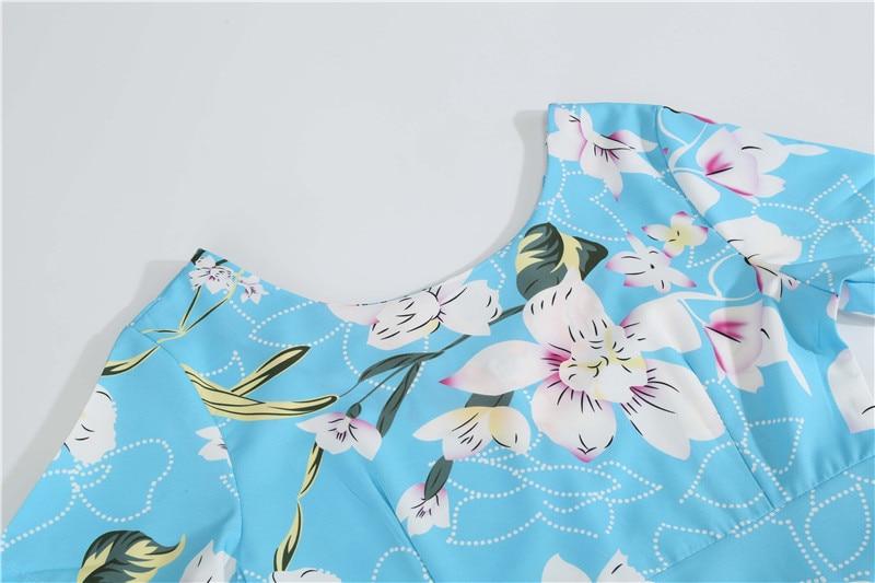 Summer Floral Print Elegant A-line Party Dress Women Slim White Short Sleeve Swing Pin up Vintage Dresses Plus Size Robe Femme 107