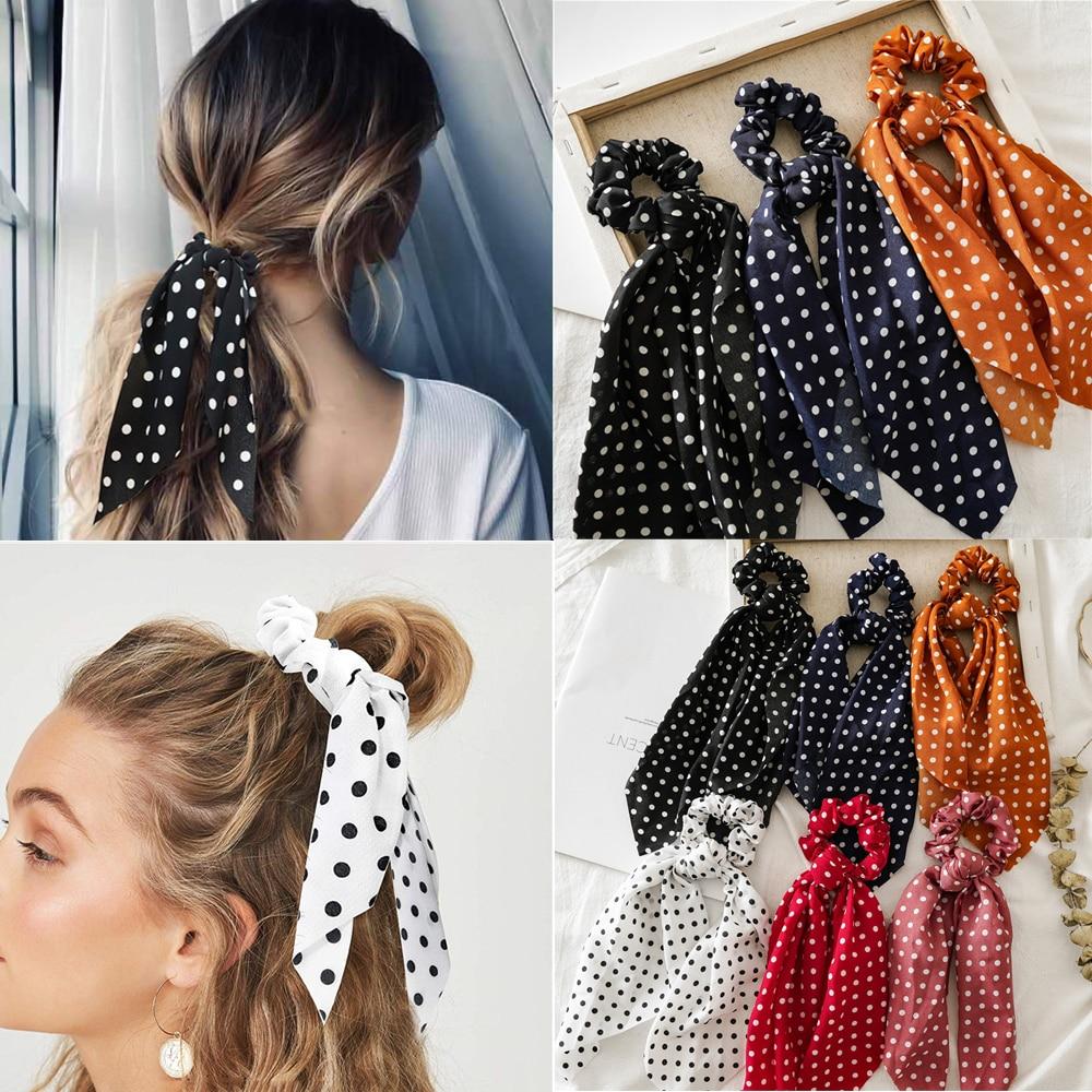 Ruoshui Dot Hair Ribbon Knot Hair Ties Scrunchies Woman Fashion Hair Rings Rubber Band Fashion Hair Accessories Hair Rope Gum