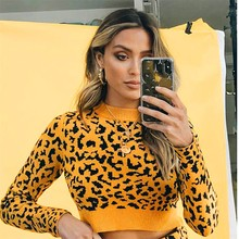 loose sweater womens sweaters Plus Size Womens O-Neck Long Sleeve Leopard Tops Sweater Short Y827