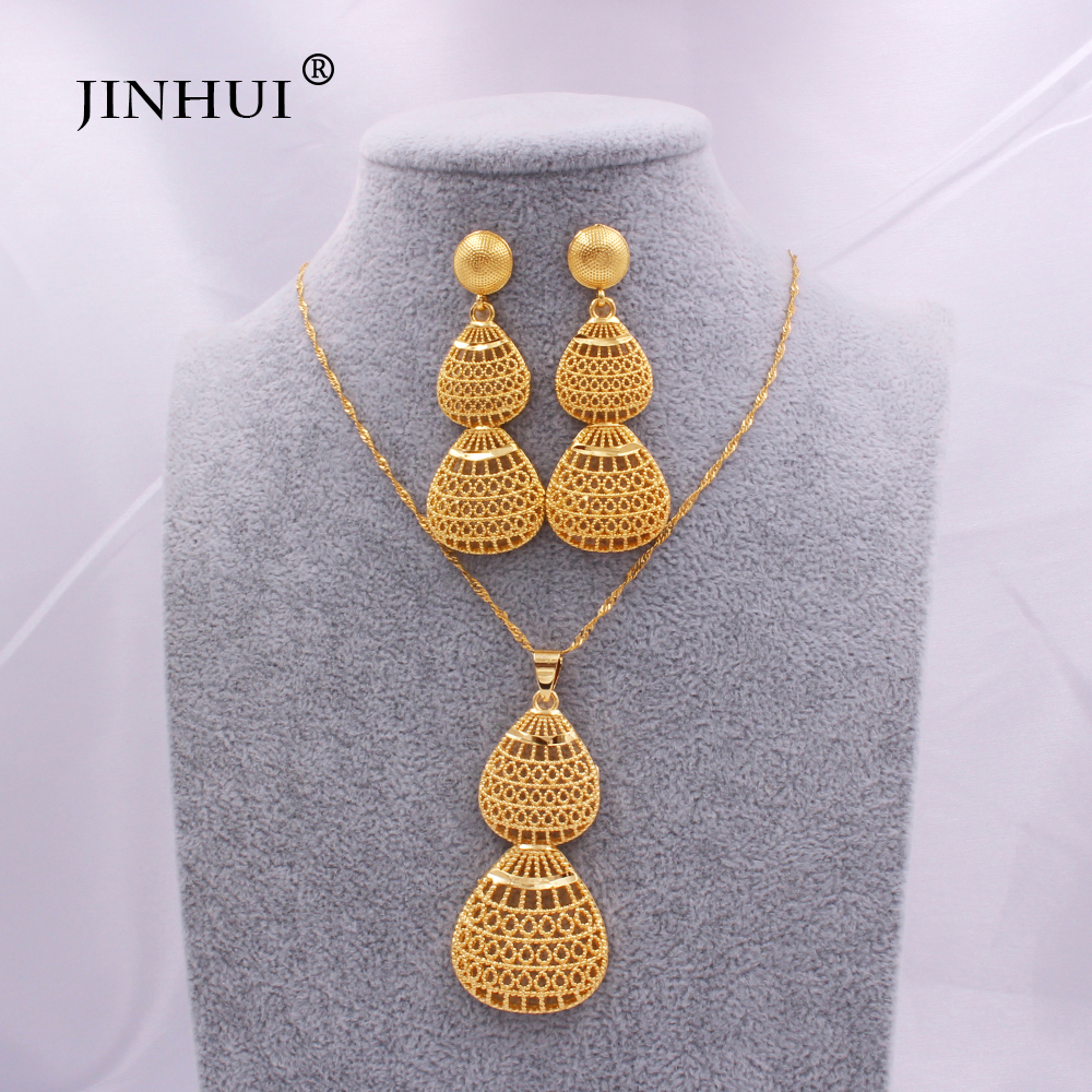 Conjunto de joias de casamento 24k, conjunto de joias cor dourada para mulheres estilo africano/indiano, noiva, presentes, colar, brincos e joias de pingente conjunto de