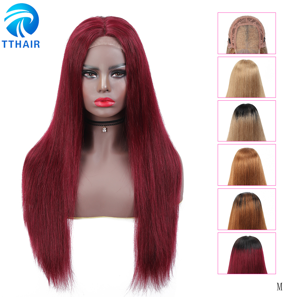 TTHAIR Straight 4x4 Lace Closure Wig Ombre Human Hair Wigs Transparent Lace Front Wig Brazilian Remy Colored Burgundy Human Wig
