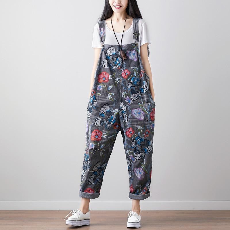 NINI WONDERLAND Women Denim Overalls Jeans Print Floral Vintage 2020 Spring Ripped Hole Jumpsuit Pants Ladies Retro Jeans Romper