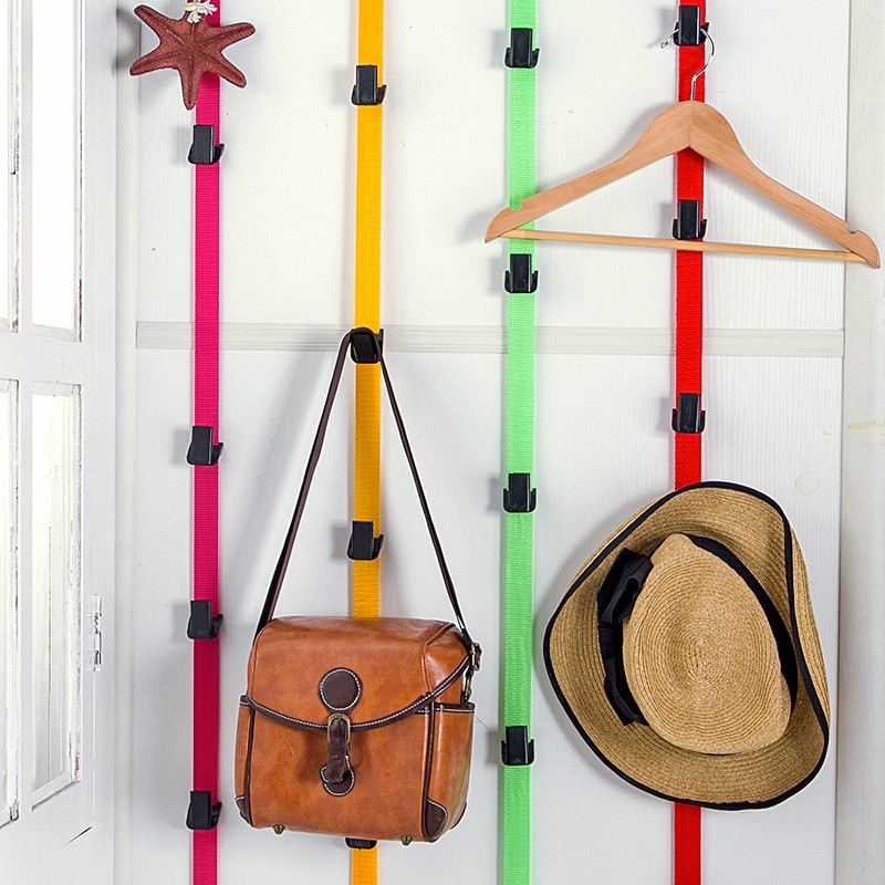 Adjustable Nylon Door Hooks Cap Rack Hat Coat Holder Handbag Key Hook Home Storage Organizer 8 Hooks Portable Door Closet Hanger