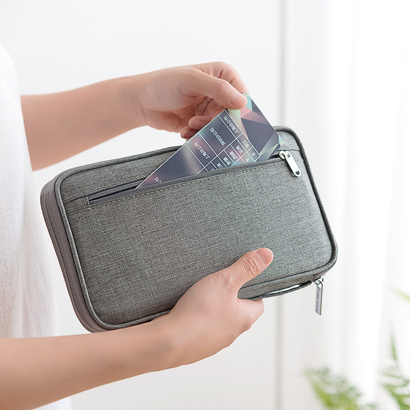 Man Multifunction Travel Wallet Waterproof Handbag Passport Holder Credit Card Multi-Card Storage Zipper Storage Casual Bag Lady
