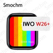 Smochm IWO W26 + Plus inteligentny zegarek 44mm 1.75 Cal nieskończony ekran wodoodporny tętno temperatura ciśnienie krwi dla iOS Android
