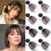 Ailiade reta marrom claro marrom escuro franja de ar franjas de cabelo frente franjas franja clip em puro feminino franjas 1 clip hairpieces