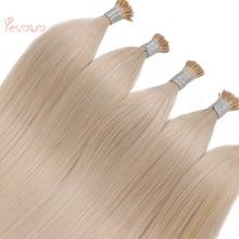 Yesowo, 22 дюймовые индийские волосы для наращивания, 40 г, высокое качество, 60#, белый блонд, Предварительно Связанные, прямые, настоящие человеческие волосы для наращивания, i Tip