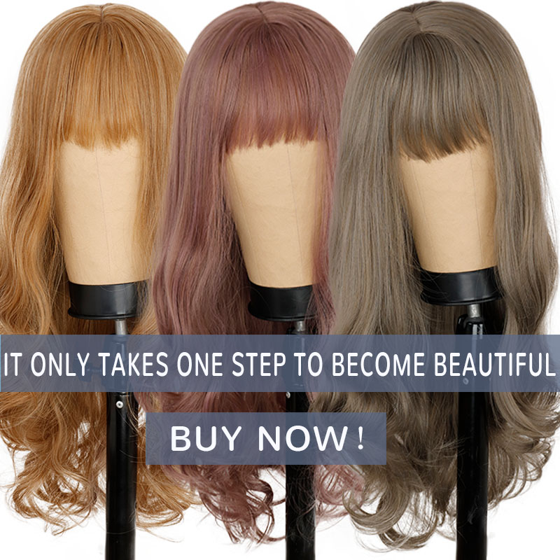 Long Wavy Synthetic Wigs With Bangs For Women Natural Hair Brown Blonde Daily/Cosplay Fake Hair Wigs