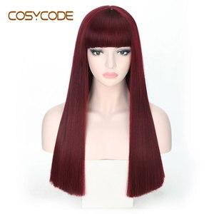 Image 4 - Cosycode 99j peruca cosplay com franja 22 polegada longa peruca reta para mulher não laço peruca sintética traje resistente ao calor
