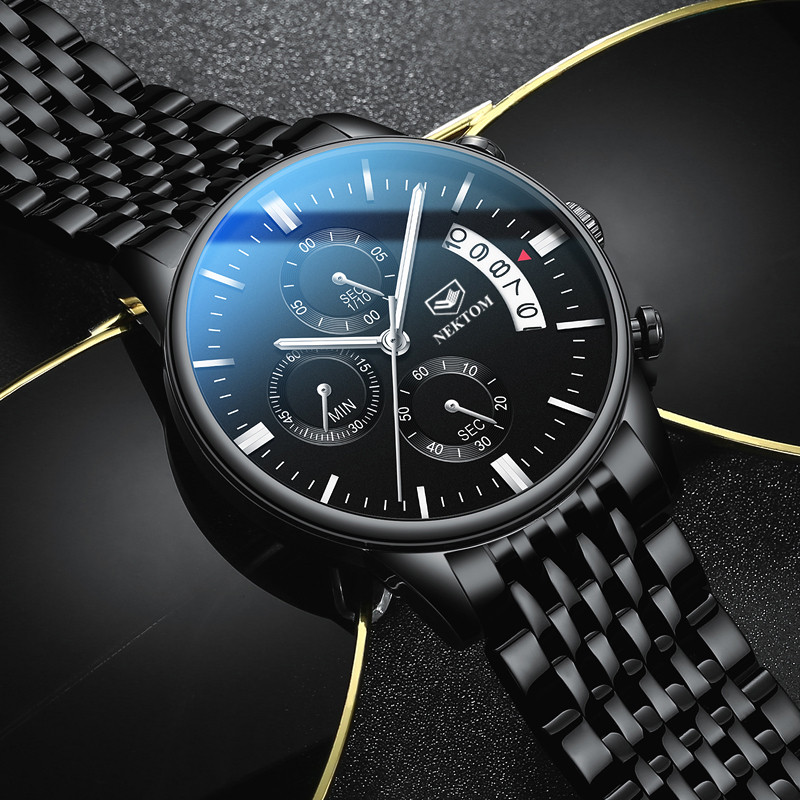 NEKTOM Relogio Masculino Men Watches Chronograph Luminous Men's Fashion Casual Top Brand Luxury Stainless Steel Watchwrist Quartz Watches     - title=
