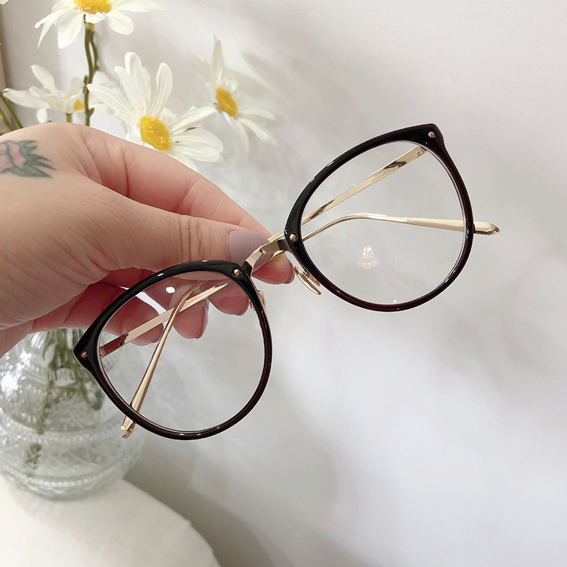 Montura de gafas ópticas para hombre y mujer, monturas redondas de gran tamaño, Gafas de Metal, gafas transparentes