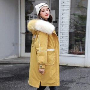 Image 2 - 冬の毛皮の襟フード付きコートの女性刺繍ジャケット女性厚く暖かい綿パッド入りジャケット生き抜くプラスサイズロングパーカーmujer