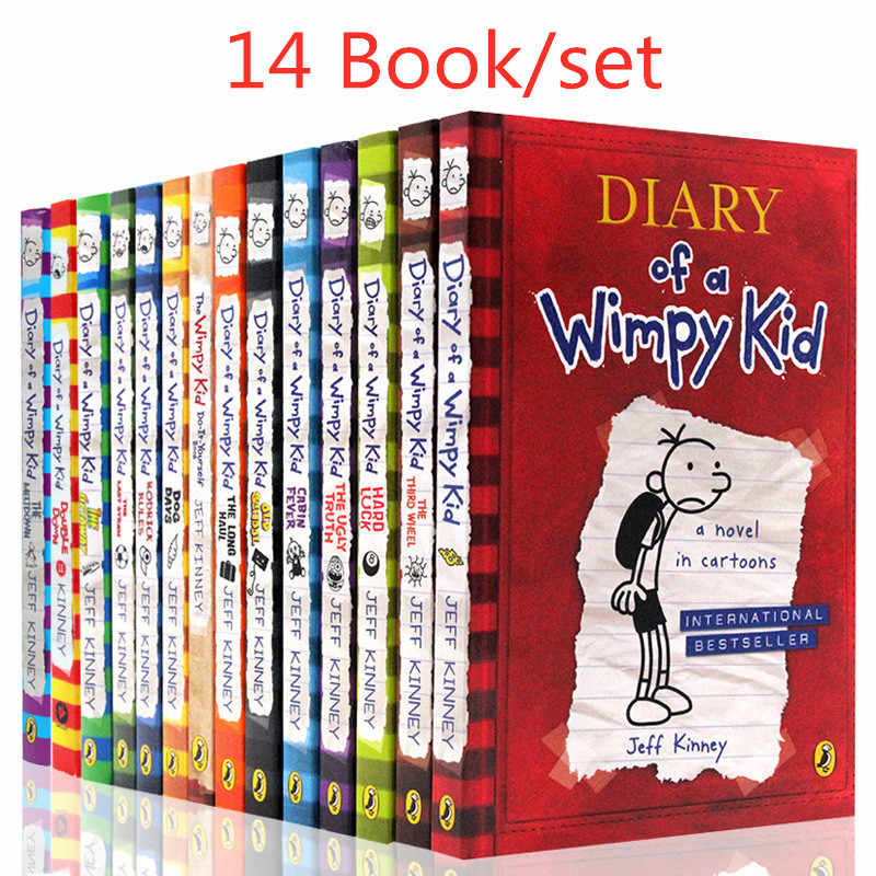 14 Books/set Diary of A Wimpy Kid Comic Book Set Learning English Language Books for Children Kids Story Books In English
