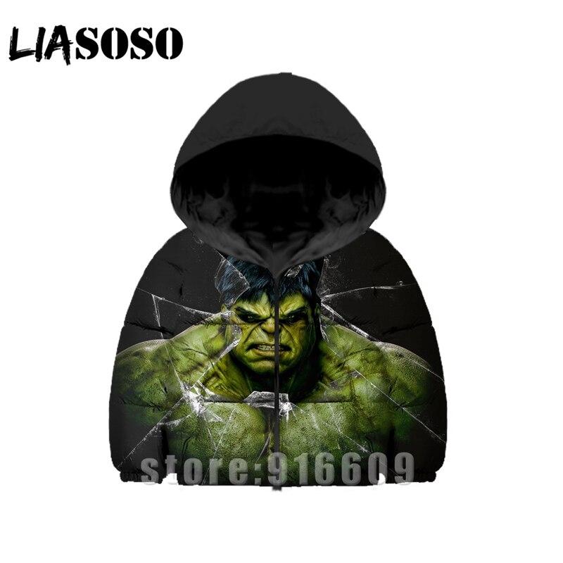 Impression 3D femmes hommes Avengers Hulk bébé rock sweats Anime enfants hiver doudoune chaud enfants Harajuku épais manteau sweats à capuche