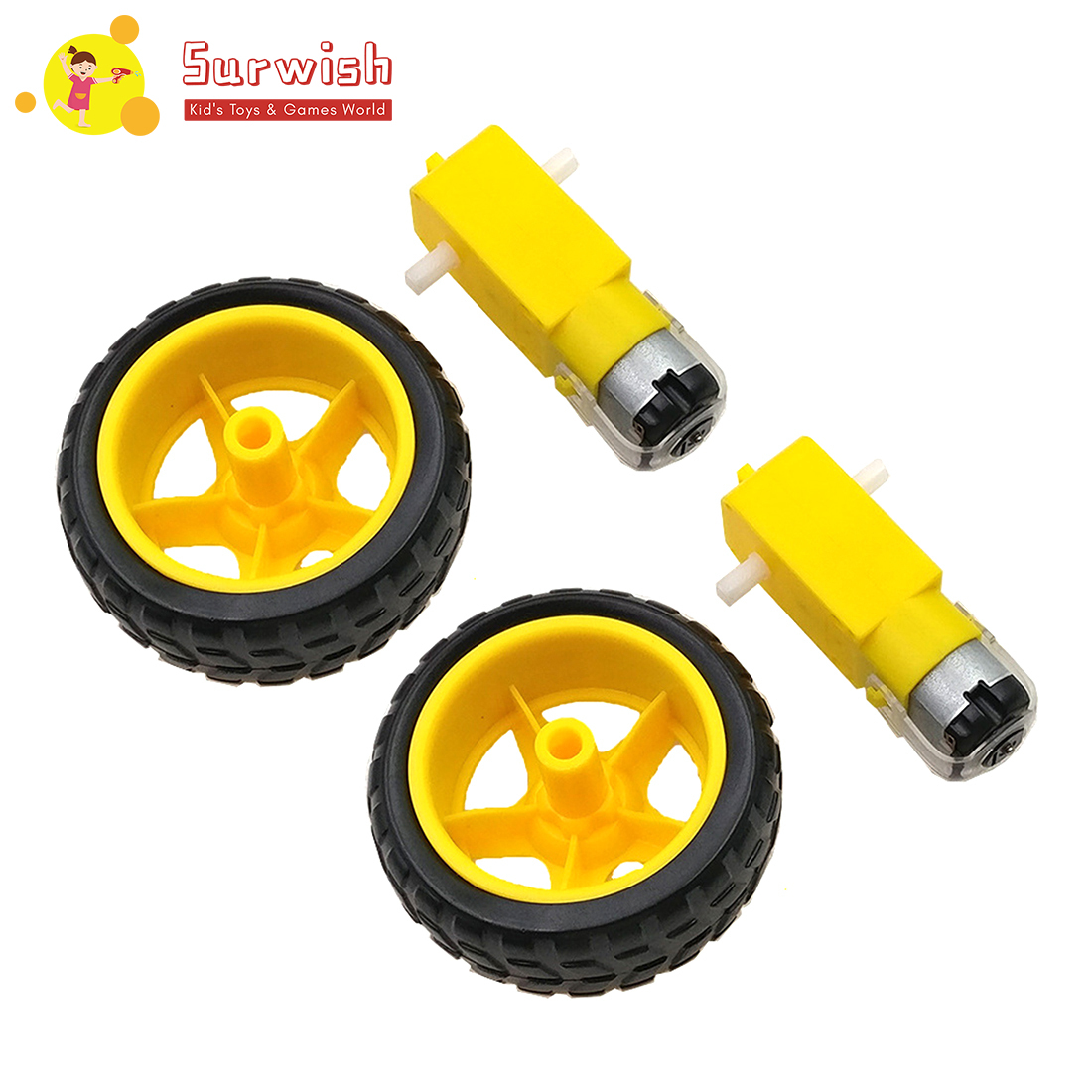 High Recommend 2Pcs/Lot Small Smart Car Tyres Wheel Robot Chassis Kit With DC Speed Reduction Motor