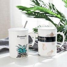 Pineapple Beautiful Colorful Ceramic Mug with Lid Spoon Tea Milk Coffee Cups Home Office Drinkware Waterware good morning cute ceramic mug with lid tea milk coffee mug cup home school kids drinkware waterware gift