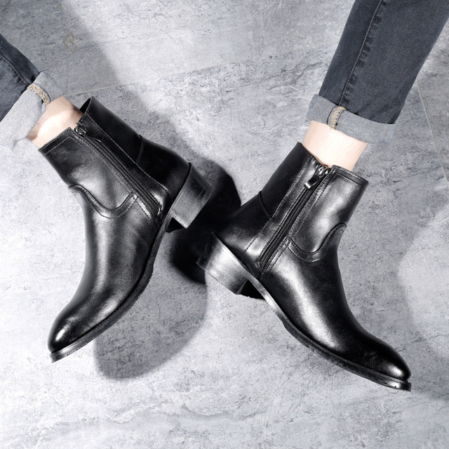 Black Chelsea Boots Men PU Leather Luxury Men Ankle Boots Original Male Short Casual Shoes British Style Winter Spring Boots