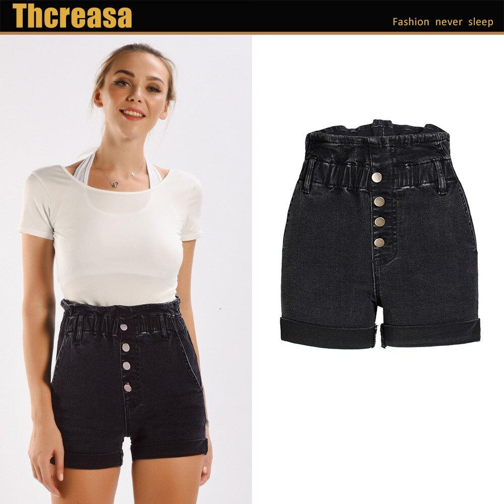 Women Short Jeans Pure Black Wide Leg Denim Shorts Women's Elastic Waist Loose Curled High Waist Women's Denim Shorts
