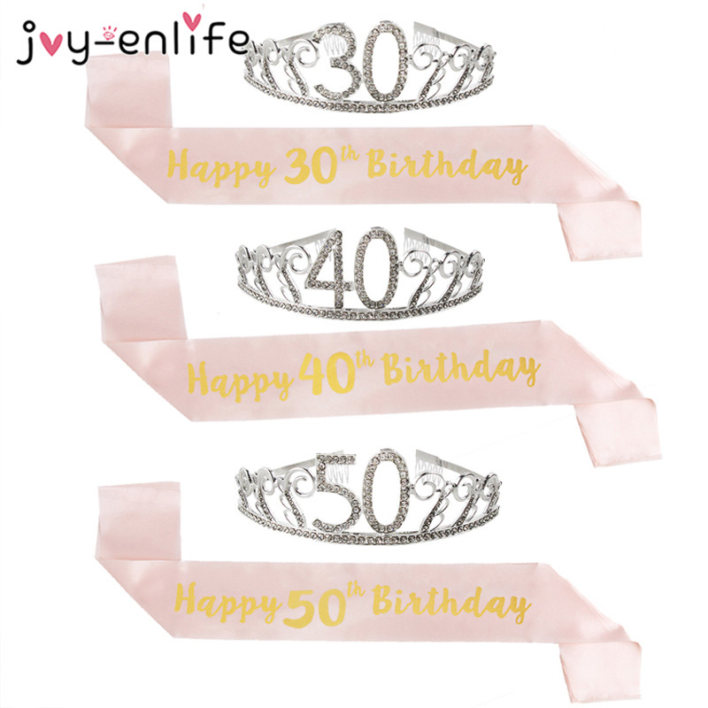 Happy Birthday 30th 40th 50th Rose Gold Satin Sash Crown Birthday Party Decorations Adult 30 40 50 Anniversary Party Supplies