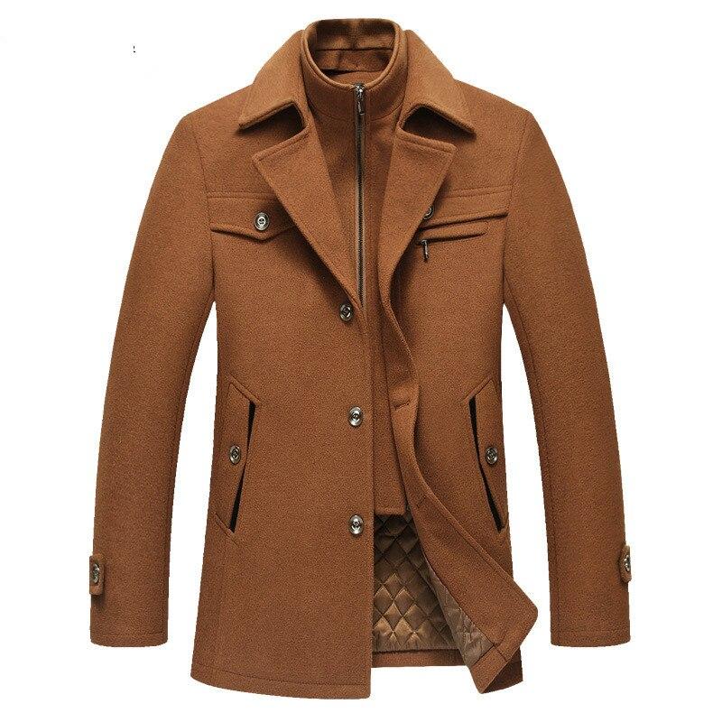 erkek karışımları Casual Brand Men Blends Coats 2020 Autumn Winter New High Quality Solid Men Wool Coat Male Fashion Wool Coat