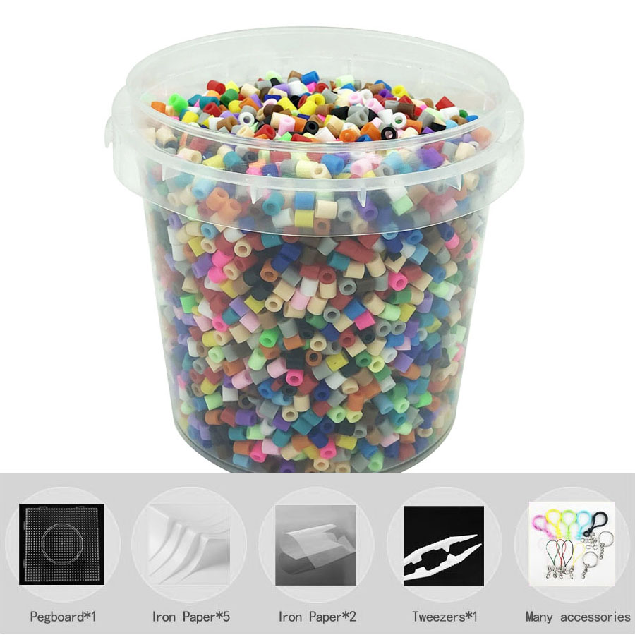 6000pcs/barrel 20colors Iron Beads For Kids Hama Beads Diy Puzzles High Quality Perler Handmade Gift Toy PUPUKOU 5mm Beads
