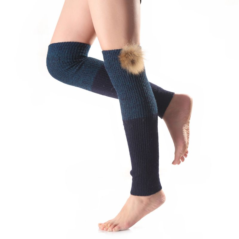 Women Girls Ribbed Knitted Over Knee Leg Warmer Crochet Color Block Thermal Long Boot Cover Socks With Detachable Pom Pom Ball
