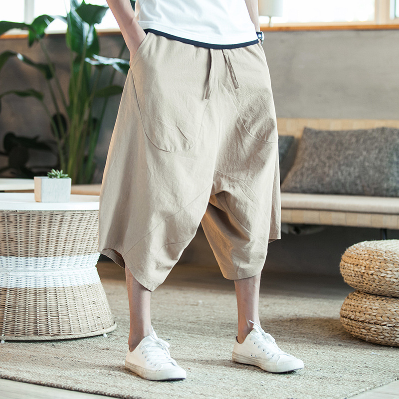 Chinese-style Cotton Low-Grade Baggy Pants Wide Leg Pants Capris Men's Activity To Run The Amount Of Paragraph Summer Wear Beach