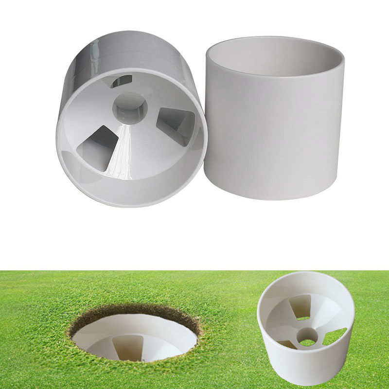 2.7Cm Aperture Outdoor Golf Training Flagpole Hole Cup Golf Training Aids Three Holes White Plastic Golf Hole Cup
