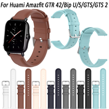 Genuine Leather 20mm Watch band Strap For Huami Amazfit GTR 42/Bip U/S/GTS/GTS 2 Sport Wristband Quick Release Accessories