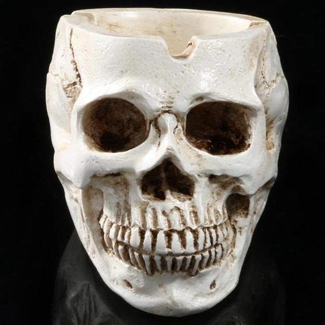 Skull Resin Ashtray Home Ornament Anti-slip Crafts Smokeless Ashtray Cigarette Holder Crafts Halloween Decorative Supplies 3