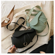 Women's Bag Leisure-Saddle-Bag Diagonal-Bag Lady Handbags Shoulder Fashion Solid Pu Easy