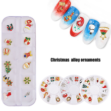 12 Grid Exquisite Christmas Alloy Charms Nail Ornaments Art Decorations DIY Accessories